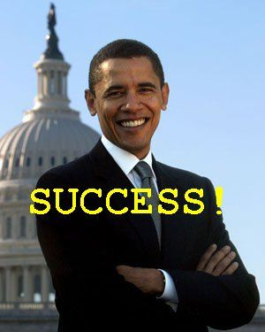 President Obama in front of  Capitol with word Success! in green